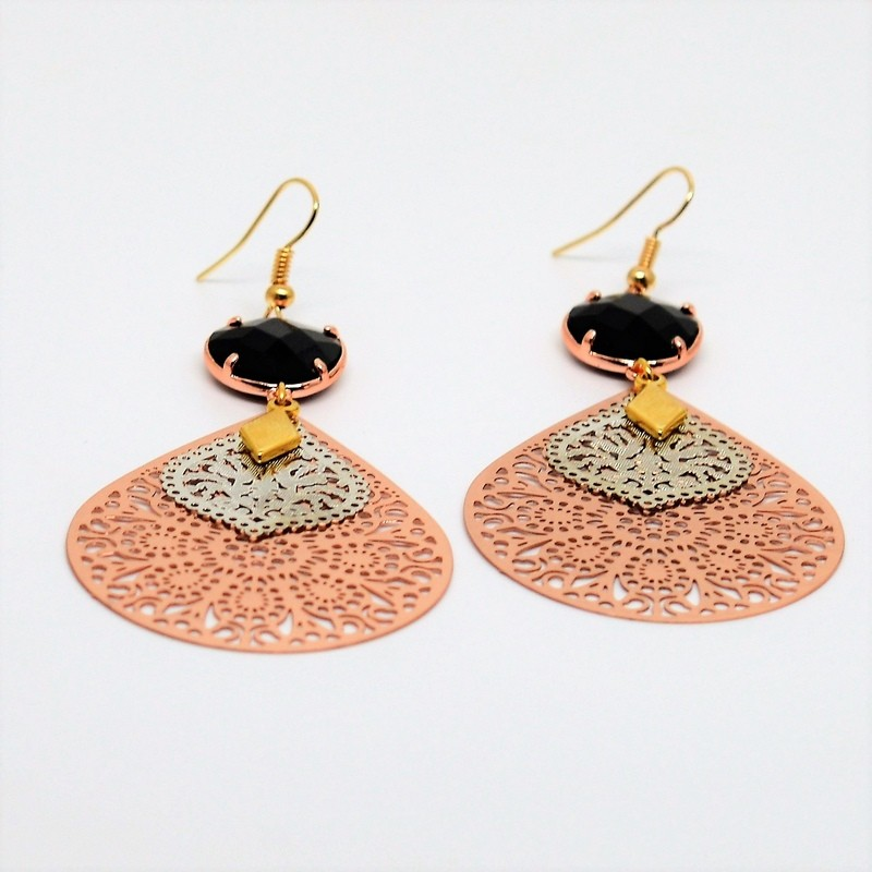 Laser Cut Gold Platinum: Laser Cut / Rose Gold And Silver / Crystal Black Earrings