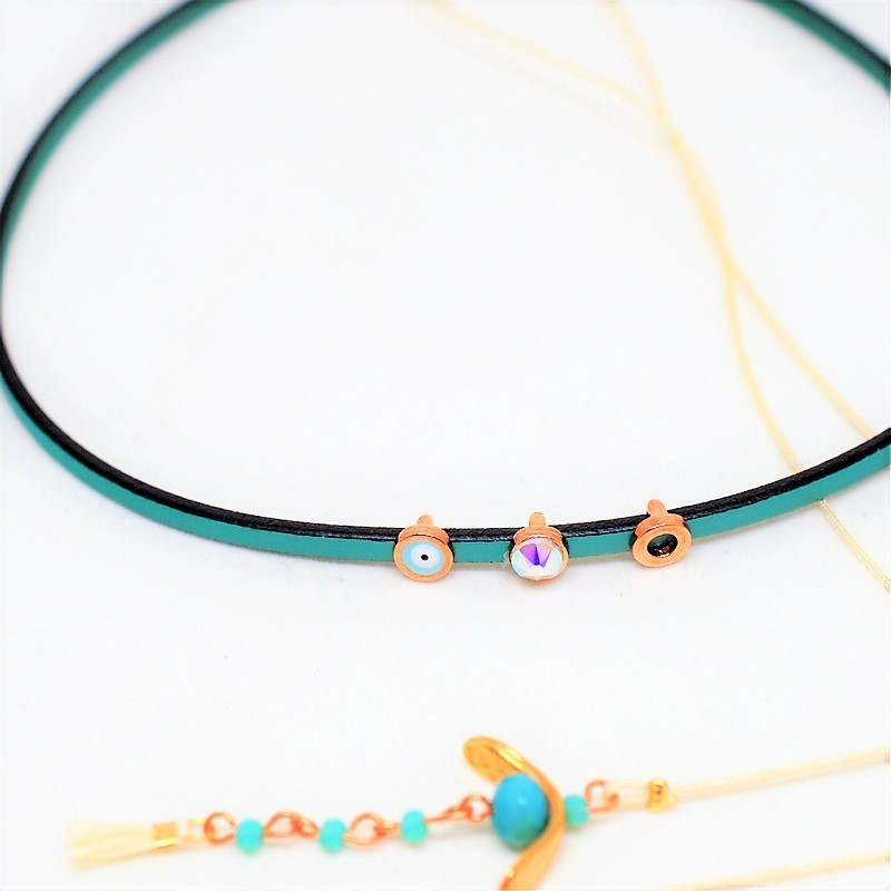 Choker green leather & rose gold