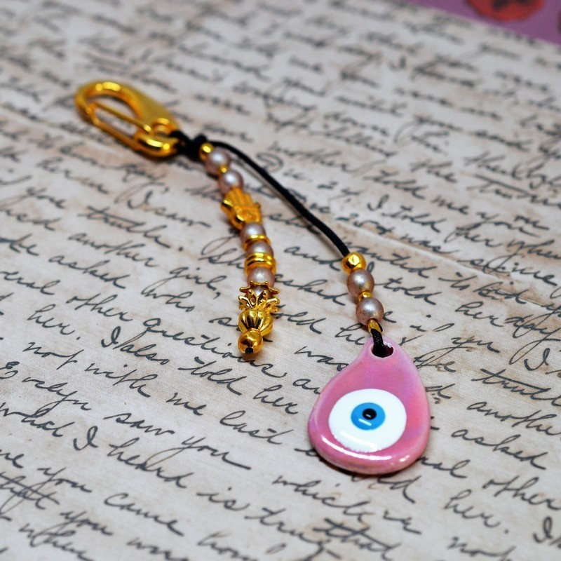 Μπρελόκ charm  Ceramic  Eye Pink / White