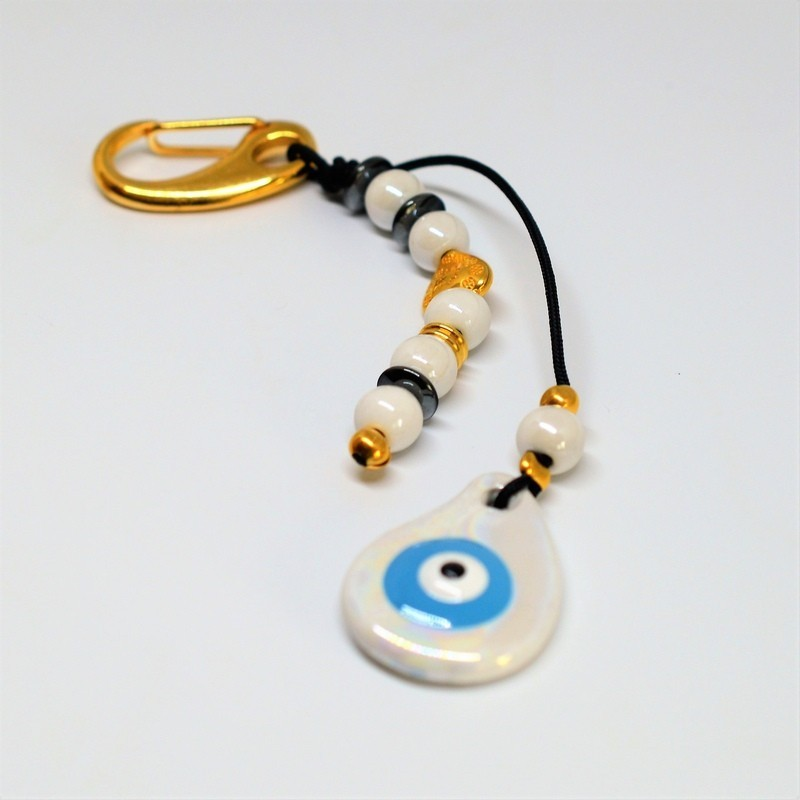 Keychain Charm Gold Ceramic Eye Blue / White