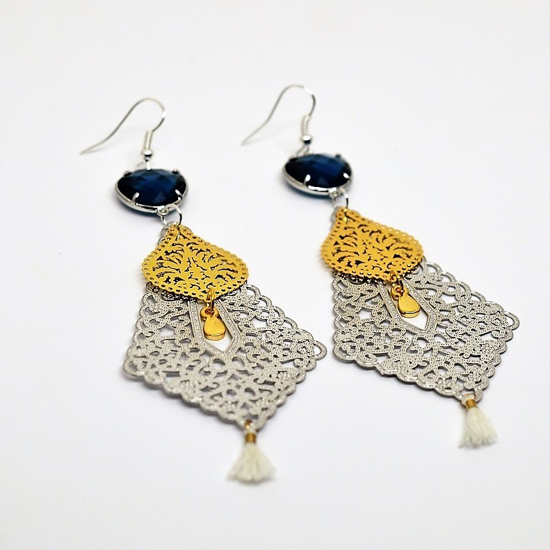 Laser Cut Gold Platinum: Laser Cut / Gold & Silver / Capri Blue Earrings