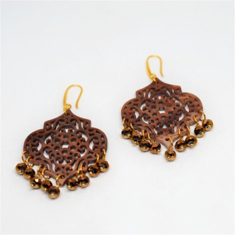 Plexi acrylic / Brown iridium earrings