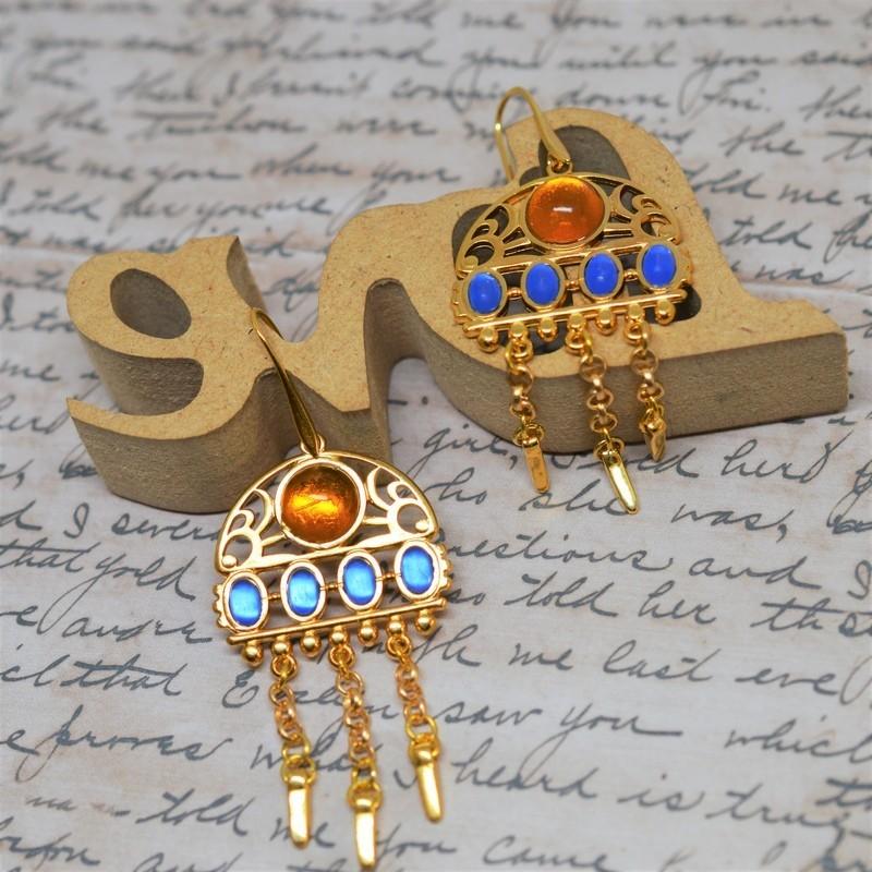 Ethnic Blue / Topaz Earrings