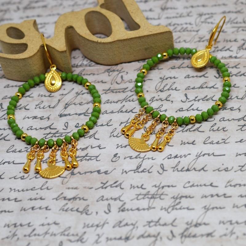 Σκουλαρίκια rings Green / Gold