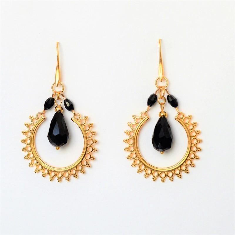 Σκουλαρίκια ethnic Black / Gold