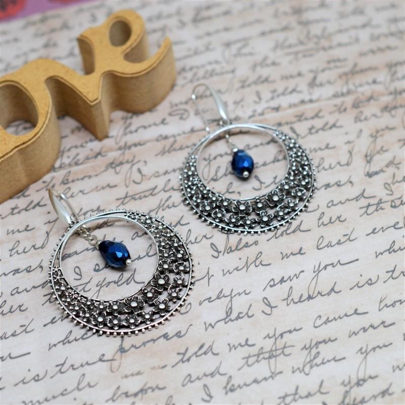 Σκουλαρίκια ethnic Blue metallic