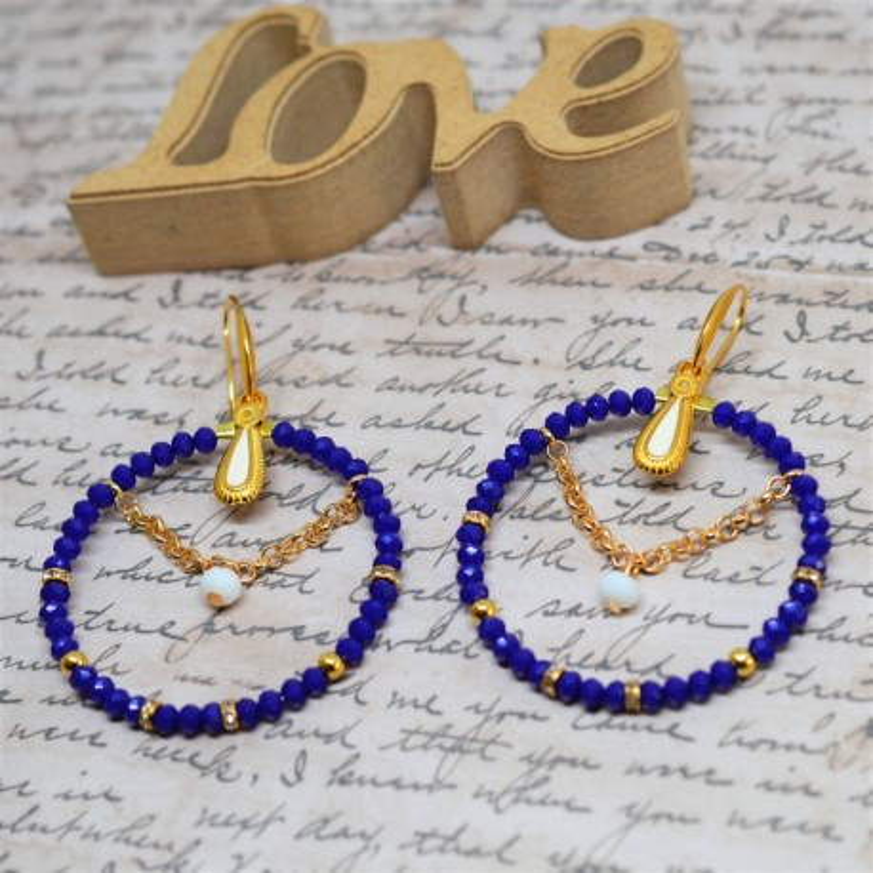Σκουλαρίκια rings Blue / Gold