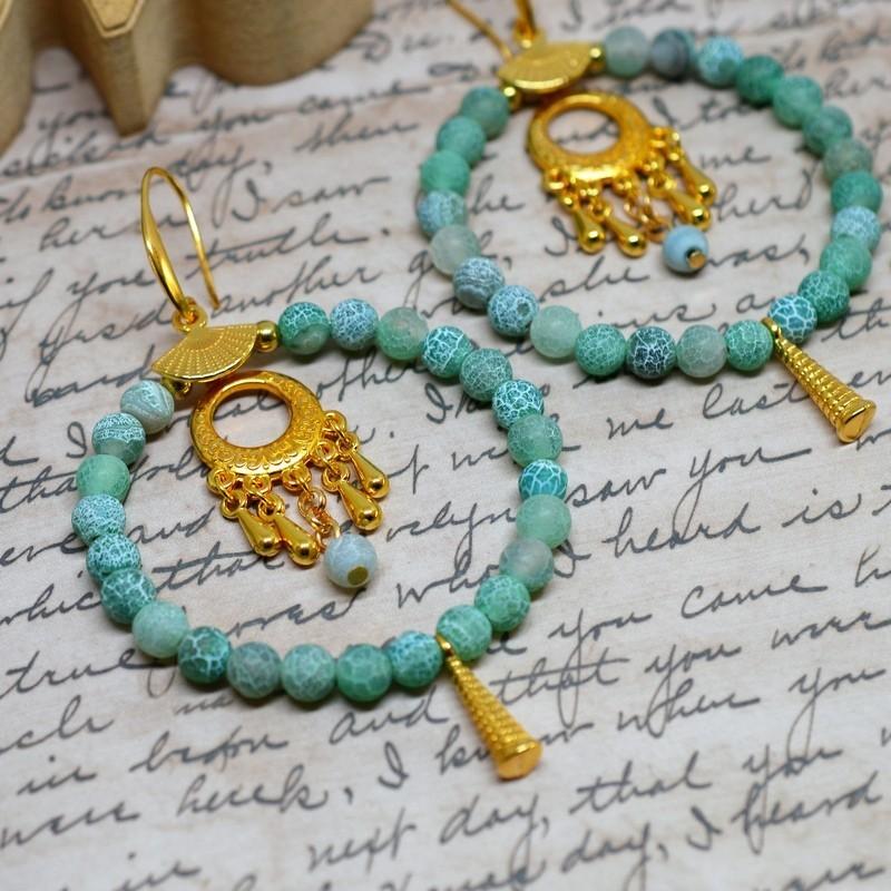 Earrings Green / Gold earrings