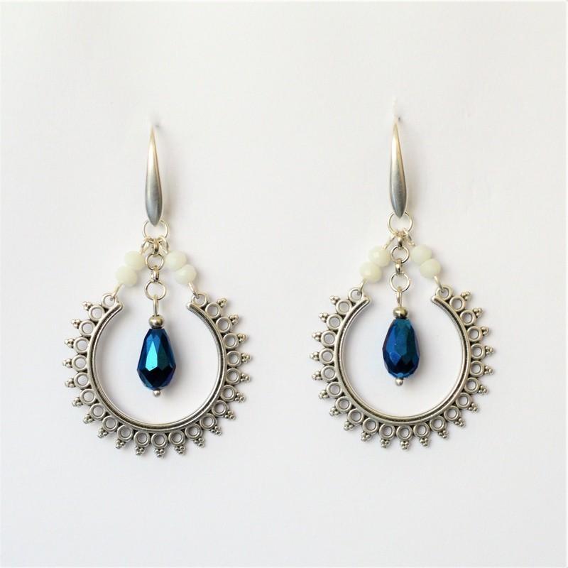 Σκουλαρίκια ethnic Blue iridizon / White alabaster