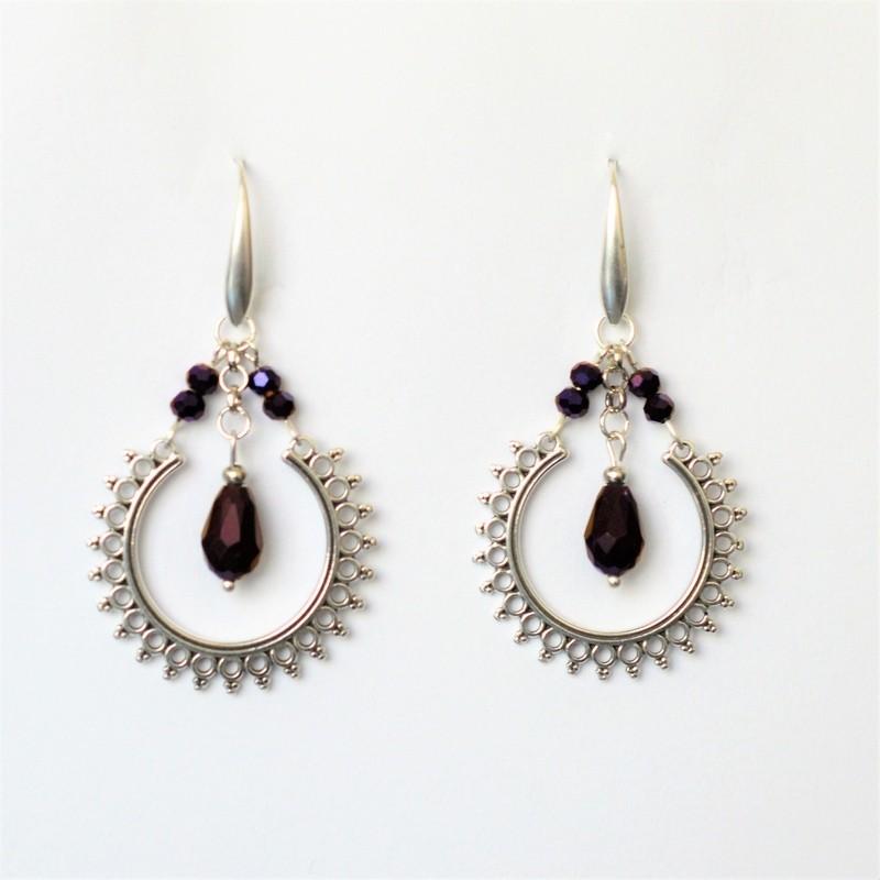 Ethnic purple earrings iridescent