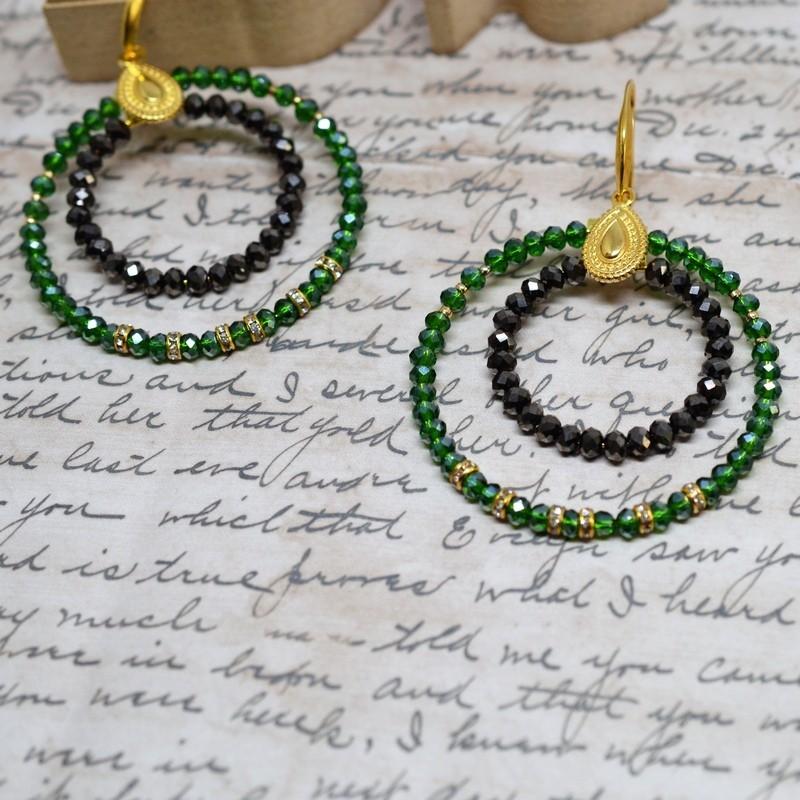 Σκουλαρίκια rings / Green  / grystal metallic
