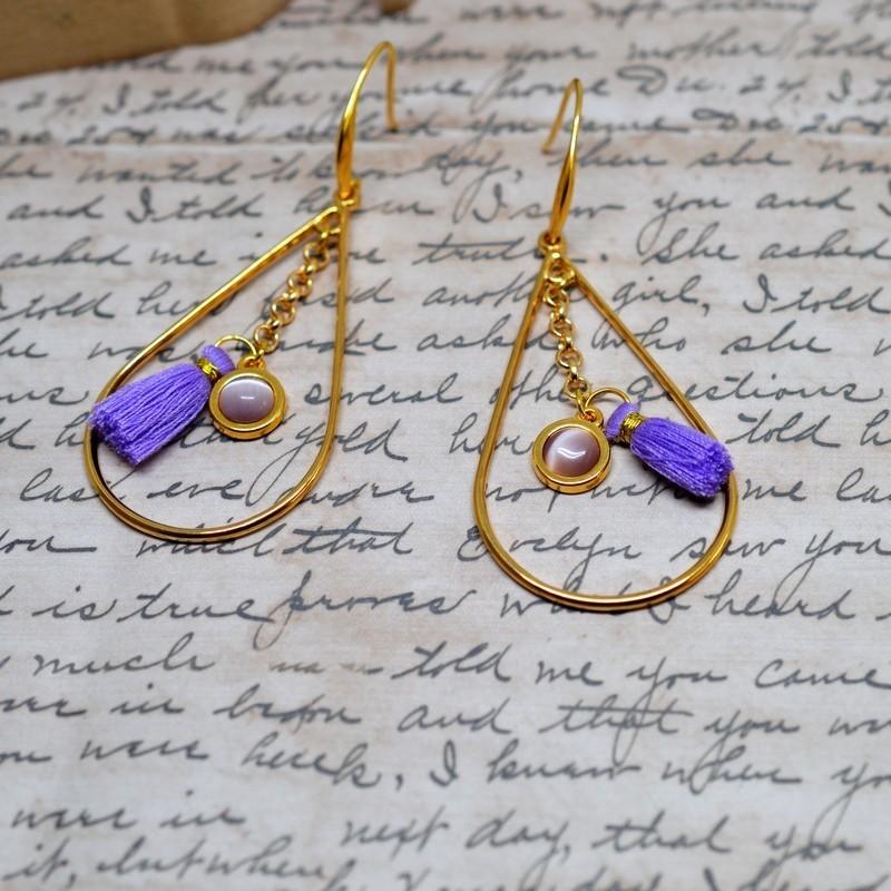 Σκουλαρίκια ethnic purple / Gold