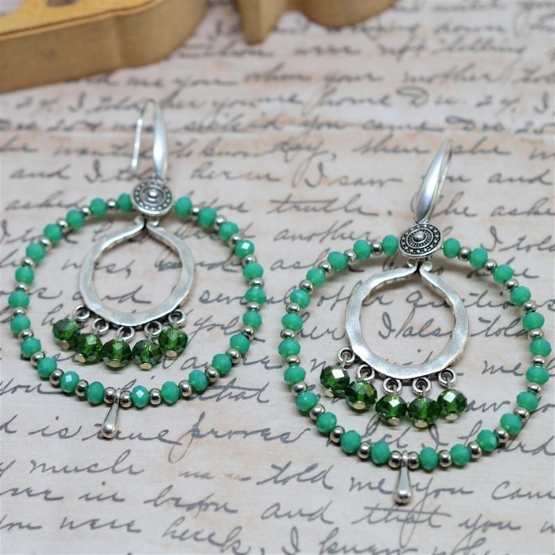 Σκουλαρίκια rings / Green / Green opal