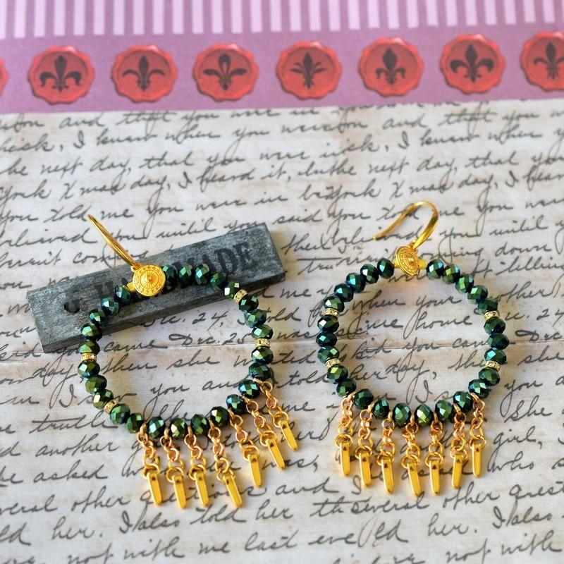 Σκουλαρίκια rings / Green ιριδίζον