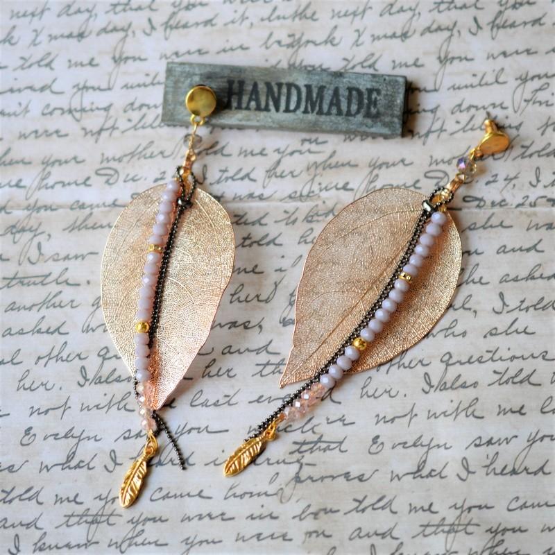 Σκουλαρίκια leaves / Nude/rose gold