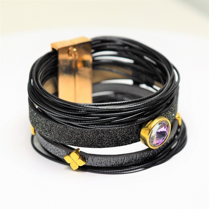 Black / Gray glitter flat cord / Light Rose bracelet