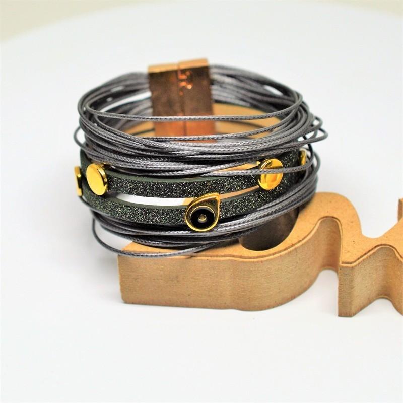 Βραχιόλι Gan metal/Green glitter flat cord