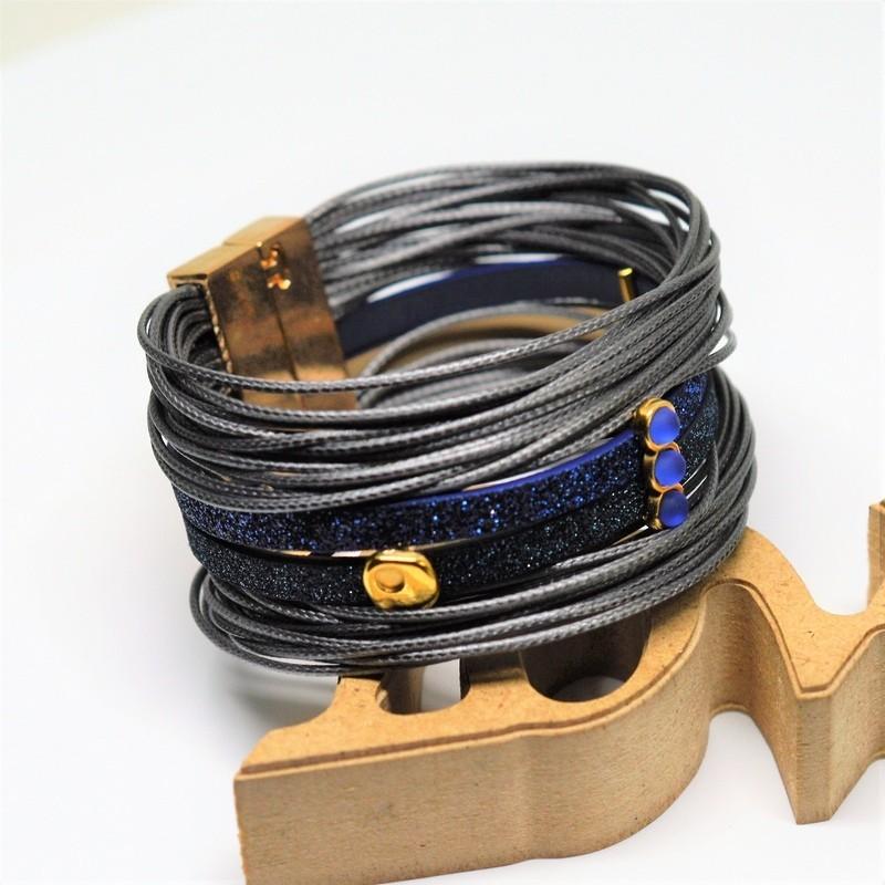 Βραχιόλι gun metal/Blue glitter flat cord