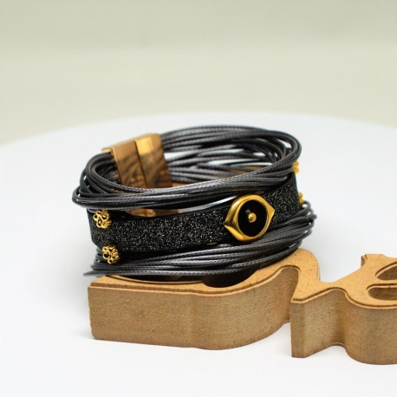 Βραχιόλι black/Grey glitter flat cord