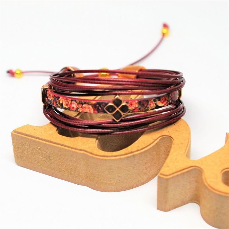 Βραχιόλι Leather Rosewood/floral/Rose Gold