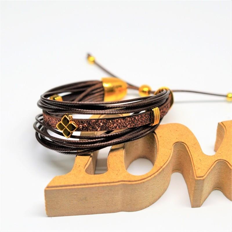 Bραχιόλι Brown /Brown glitter flat cord/ gold