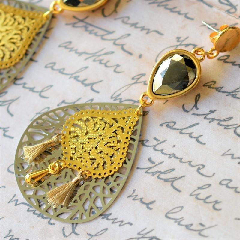 Laser Cut / Gold / Silver / Swarovski Metallic Light Gold Earrings
