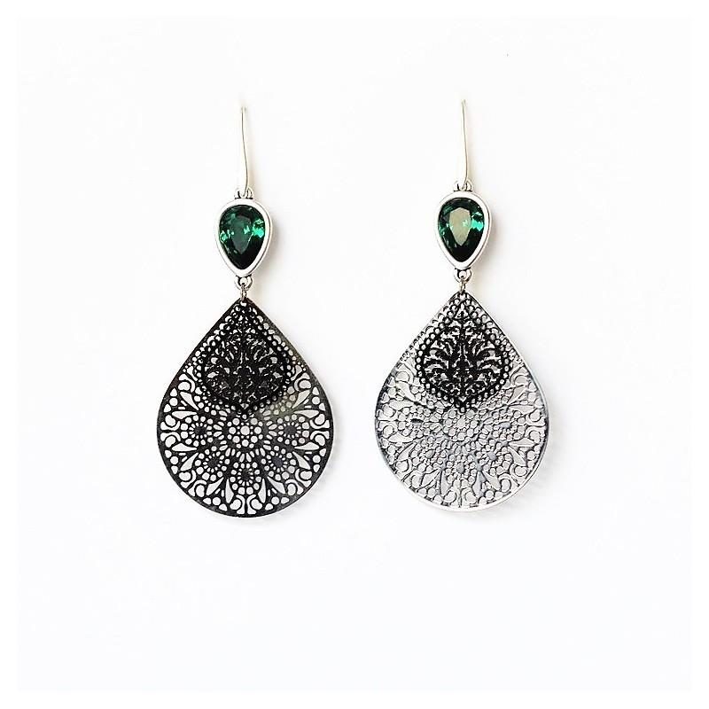 Σκουλαρίκια Laser cut/ Silver/Black/Swarovski Emerald