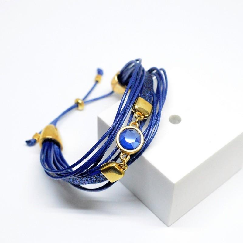 Βραχιόλι Πολύσειρο /Swarovski Blue V1649