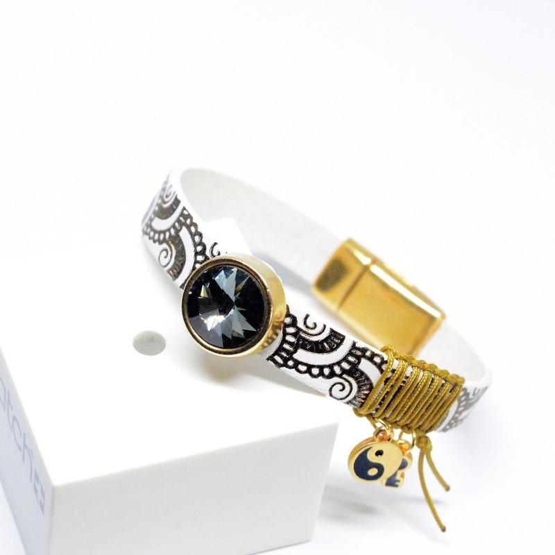 Βραχιόλι White Gold /Swarovski Black Diamond V1651