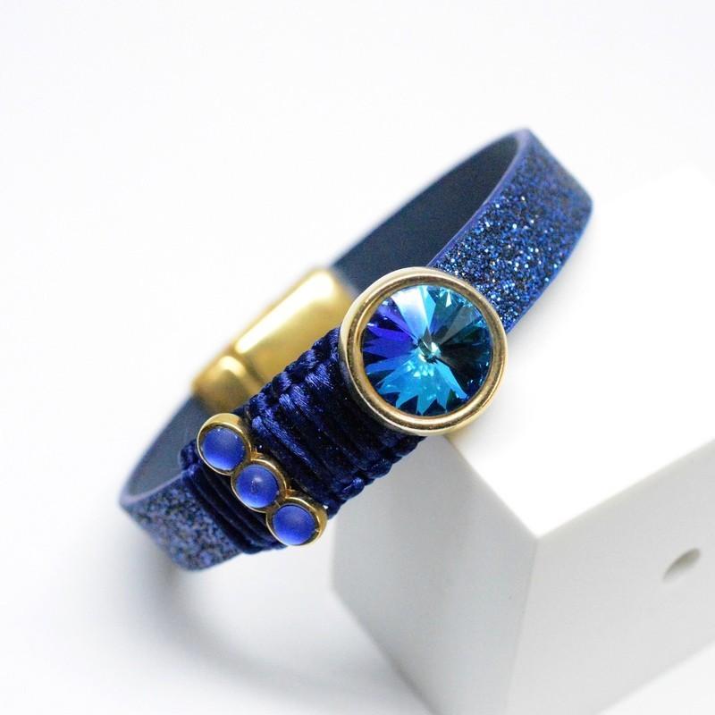 Βραχιόλι Blue Glitter/ Rose Gold /Swarovski Sapphire V1653