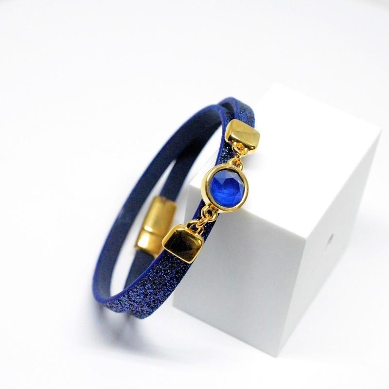 Βραχιόλι blue glitter/Swarovski Capri Blue V1624