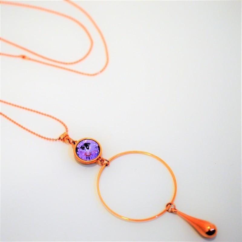 Κολιέ Rose Gold / Swarovski Violet K6532
