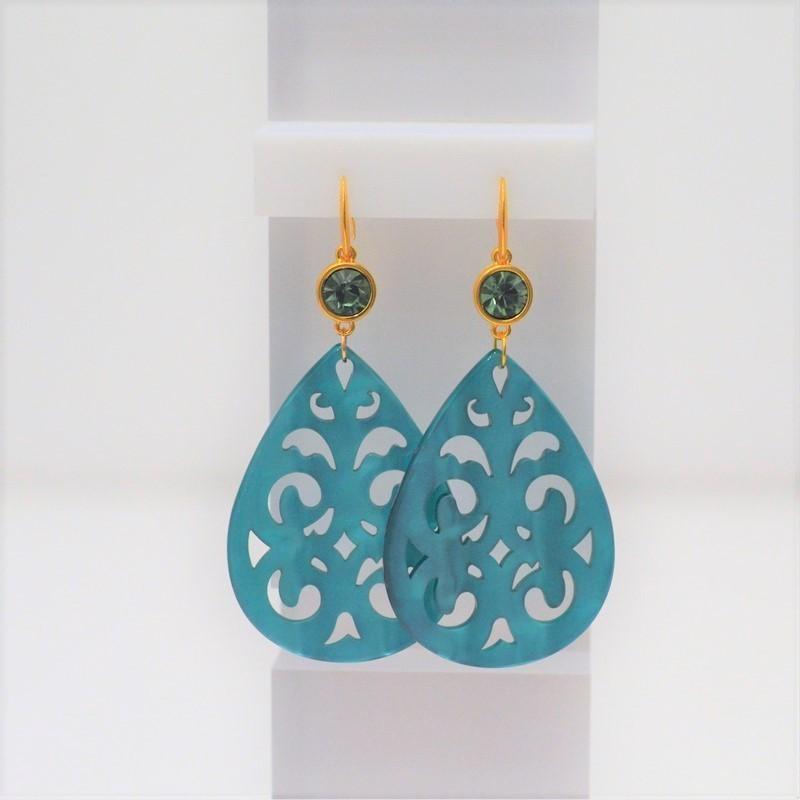 Σκουλαρίκια Acrylic Gold/Swarovski Emerald 3367