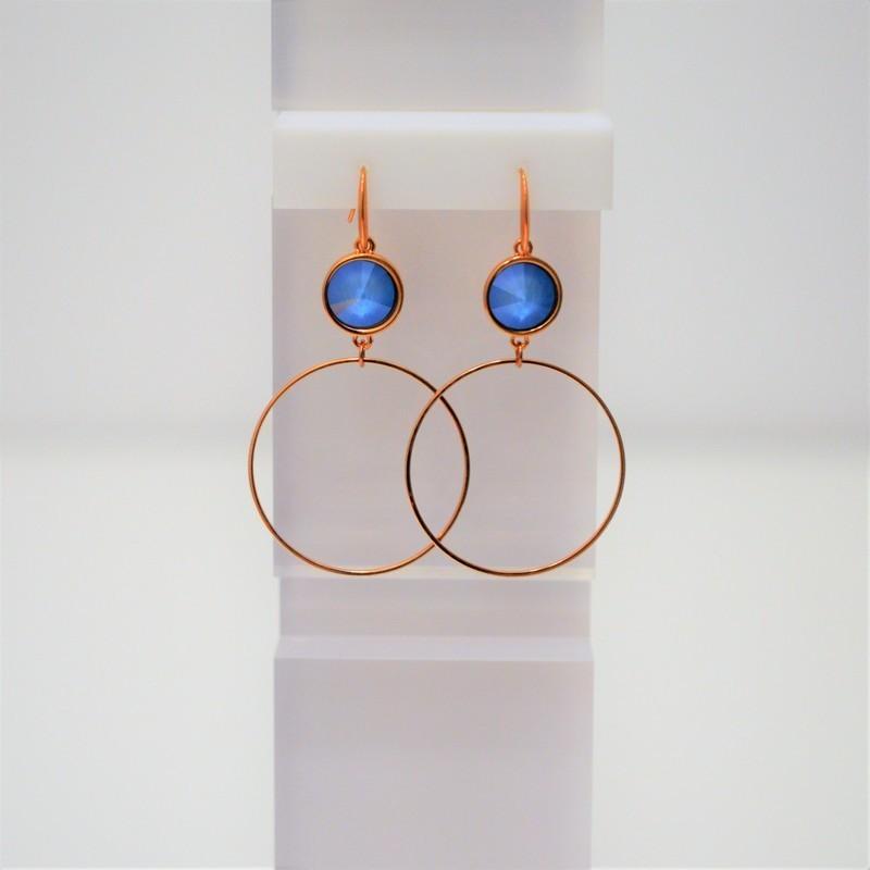 Σκουλαρίκια Rose Gold/Swarovski Summer Blue S3374