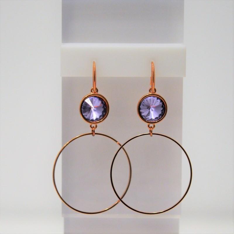 Σκουλαρίκια Rose Gold/Swarovski Violet S3375