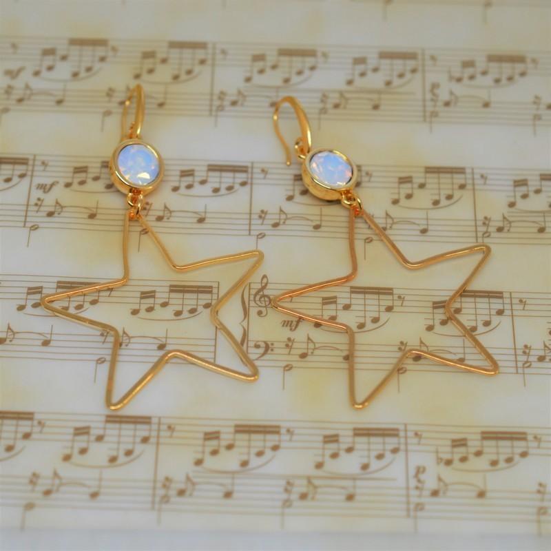 Σκουλαρίκια Gold/Swarovski Crystal opal S3379
