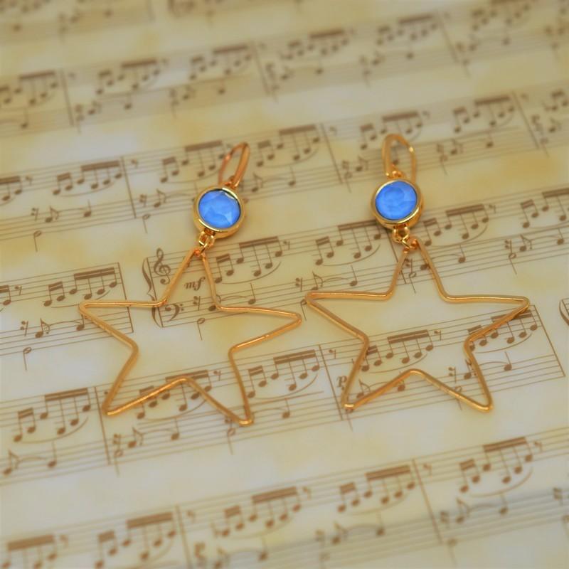 Σκουλαρίκια Gold/Swarovski Blue opal S3380